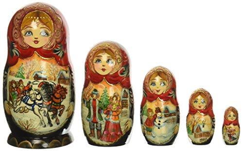 - G. Debrekht Russia 5 Piece Troika Winter Nested Doll Set
