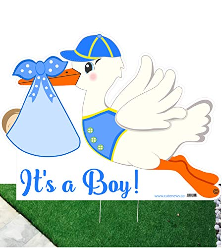 Cute News It's a Boy Stork Yard Sign - Welcome Home Newborn Baby Greeting Sign Announcement - Blue Baby Shower Party Decoration - Special Delivery Lawn Birth Decor -