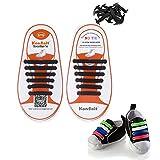 Konsait No-Tie Silicone Elastic Shoe Laces for 12pcs/Kids(Black)