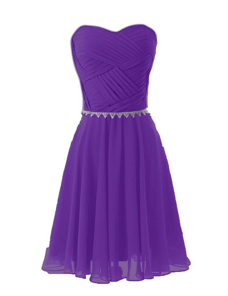 JoyVany Sweetheart Pleated Chiffon Bridesmaid Dress Short Prom Homecoming Dress purple Size 4