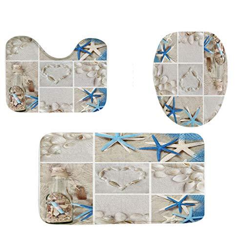 QBQCBB Bathroom Rugs Set Non-Slip Fish Scale Bath Mat Bathroom Kitchen Carpet Doormats Decor(B) ()