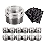 steel refridgerator magnets - Magnetic Spice Tins - Stainless Steel Magnetic Spice Rack Magnetic on Fridge Spice Jars Organizer Condiment Container Set Pack of 12 with 120 Spice Labels Clear Lid with Sift & Pour for Small Kitchens