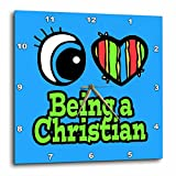 3dRose dpp_105754_3 Bright Eye Heart I Love Being a Christian Wall Clock, 15 by 15-Inch