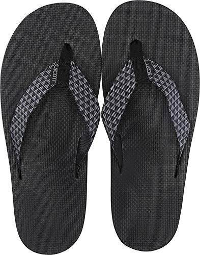 Men's Scott Manoa Sandals | Size 9 Flip Flops with Hawaiian Tribal Design | Molded Arch | Custom Textured Outsole Prevents Slipping