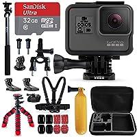 "GoPro HERO5 Black Camera + Sandisk 32GB Micro SD Memory Card + Hard Case + Head Mount + Chest Mount + 12"" Flexible Tripod + Extendable Selfie Stick / Monopod + Bike Mount + Floating Bobber + More"