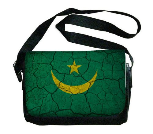 Mauritania Flag Crackled Design Messenger Bag