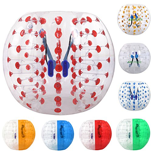 ANCHEER Inflatable Bumper Bubble Soccer Ball Dia 5 ft (1.5m) Giant Human Hamster Ball for Adults and Kids (red dot 1, 5 FT) -