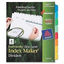Index Dividers,8 Tab,Laser/Inkjet,Single Set,8-1/2\