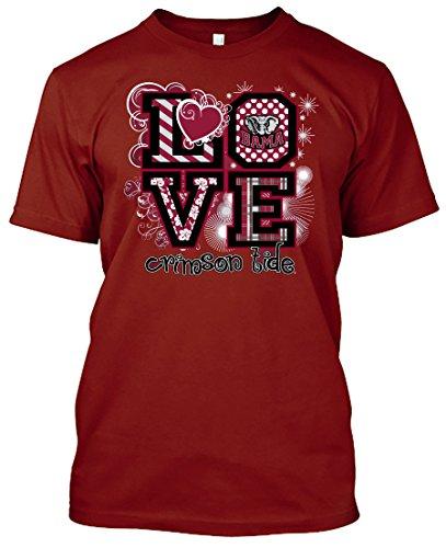 NCAA Love T-shirts - Alabama, Arkansas, Auburn, Clemson, Florida, FSU, Georgia, Kentucky, LSU, Mississippi St., Ole Miss, South Carolina, Tennessee, Texas A&M (Alabama Crimson Tide, XX-Large)