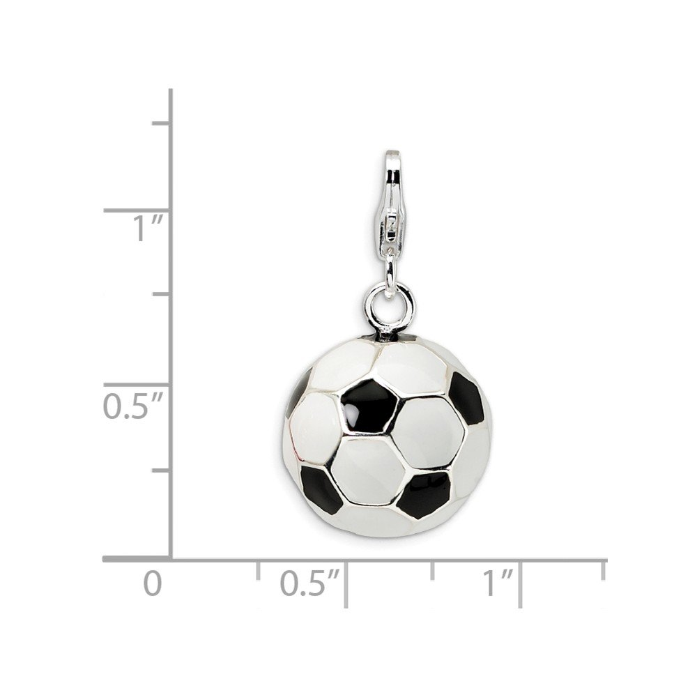 Mireval Sterling Silver 3D Enamel Soccer Ball with Lobster Clasp Charm on an Optional Charm Holder