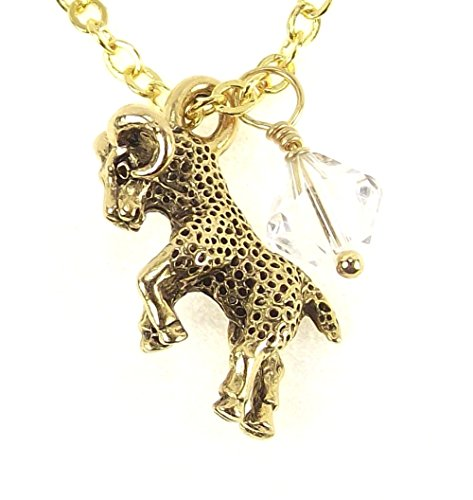 LaFenne Gold Plated 3D Astrology Zodiac Sign Pendant Necklace with Birthstone Crystal from Swarovski (Aries - April - ()