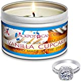 Jackpot Candles Surprise Size Ring Vanilla Cupcake Jewelry in Candle Travel Tin