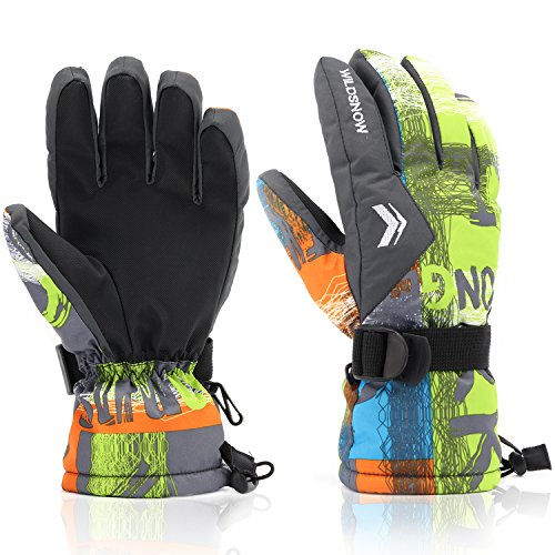 Ski Gloves,RunRRIn Winter Warmest Waterproof and Breathable Snow Gloves for Mens,Womens,ladies and Kids Skiing,Snowboarding(Grey-Yellow-L)