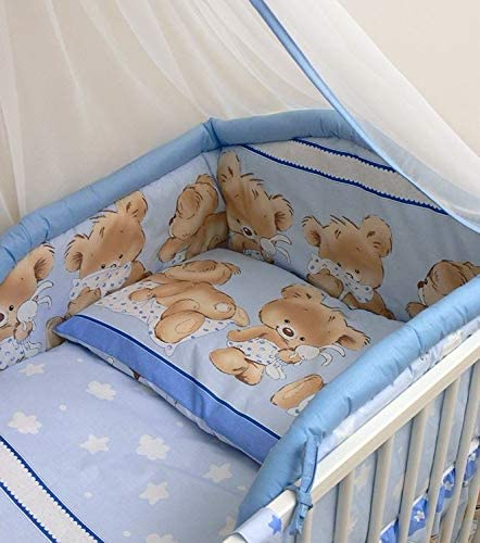 6 Pcs Baby Cot Bed Bedding with Padded Thick Bumper /& Fitted Sheet 140x70 cm Pattern 26