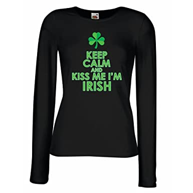59c72a68 T Shirt Women Kiss Me I'm Irish, Saint Patrick Day Jokes Quotes Shirts:  Amazon.co.uk: Clothing