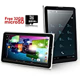 "Indigi® Android 4.4 KK 7"" Tablet PC 2-in-1 Dual Sim w/ SIM Card Slot+free 32GB microSD for 3G UNLOCKED"