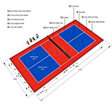 26ft x 52ft Outdoor Pickleball Court Flooring Lines and Edges Included - Red/Blue
