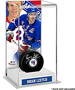 Brian Leetch New York Rangers Deluxe Tall Hockey Puck Case - Fanatics Authentic Certified - NHL Puck Display Cases No Logo