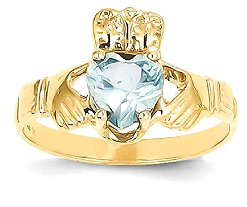 ICE CARATS 14k Yellow Gold March Birthstone Irish Claddagh Celtic Knot Band Ring Size 5.00 Style Fine Jewelry Gift Set For Women Heart