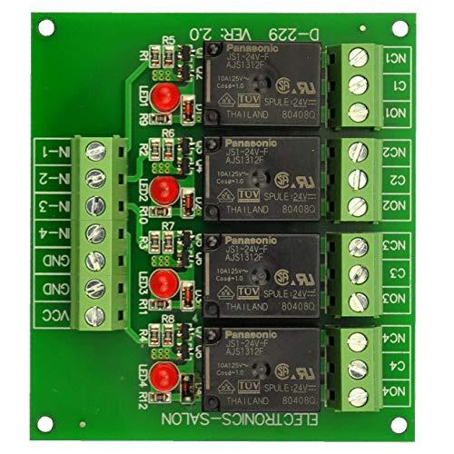(Electronics-Salon 4 SPDT 10Amp Power Relay Module, DC 24V Version.)