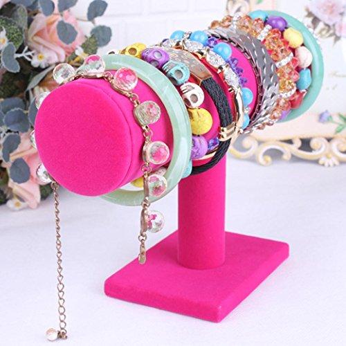 gotd-hot-pink-velvet-jewelry-rack-bracelet-necklace-stand-organizer-holder-display-holder-only