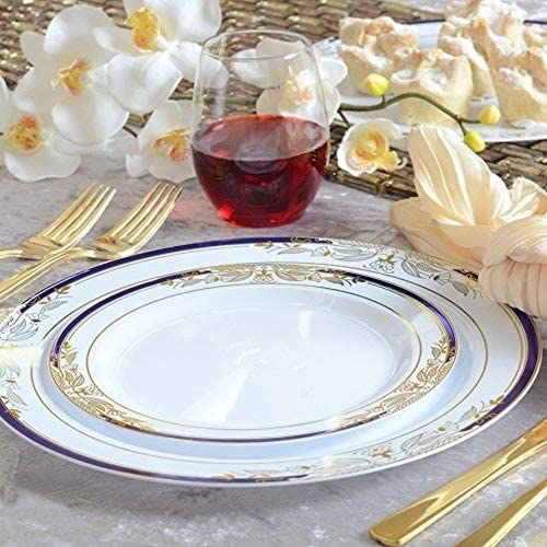 Plastic China Plate Silverware Combo Serving for 20 115 piece set Signature Blue