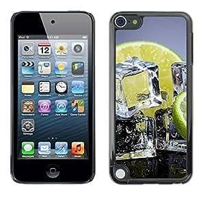 TECHCASE**Cubierta de la caja de protección la piel dura para el ** Apple iPod Touch 5 ** Ice Cubes Lemon Lime Citrus Fruit Healthy