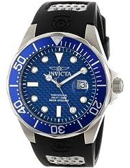 Invicta Mens 12559 Pro Diver Blue Carbon Fiber Dial Black Polyurethane Watch