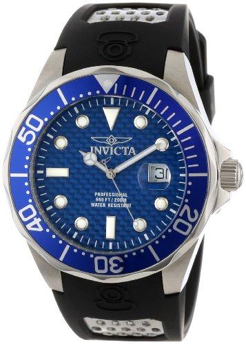 Invicta Men's 12559 Pro Diver Blue Carbon Fiber Dial Black Polyurethane Watch