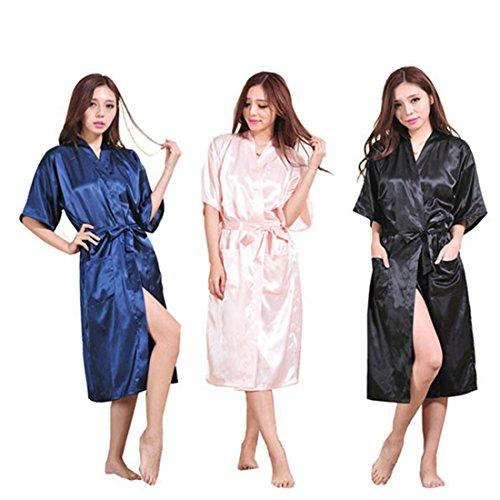 [XINXIKEJI]パジャマ ルームウェア 寝間着 レディース ナイトガウン シルク 帯付き 光沢があり心地よい肌さわり 半袖 男女