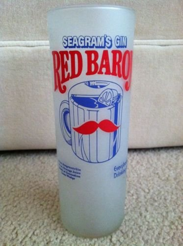 Vintage Seagrams Gin Red Baron Recipe Advertising Glass