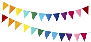 Rainbow Felt Fabric Bunting, 12 Pcs/ 8.2 Feet(1 Pack), Decoration Banners for Birthday Party, Baby Shower, Window Decorations and Children's Living Room Decorations