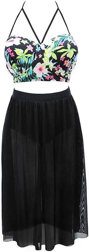 Flower Leaf Print Bikini with Black Skirt Womens Plus Size Two-Piece Swimwear