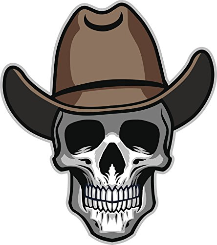 Simple Human Skull with Cowboy Hat Cartoon Vinyl Decal Sticker (2
