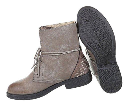 Damen Schuhe Stiefeletten Used Optik Schnürer Boots Hellbraun ... 7474bfb42b