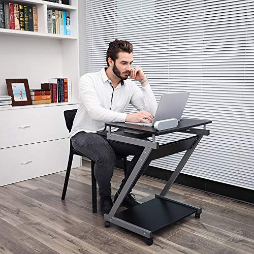 Lucario Computer Workstation,Z-Shaped Computer Desk Student Table Laptop Desk End Table Gaming Computer Table Writing Study Desk with Pull-Out Drawer for Small Space Office Bedroom Living Room