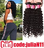 ALI JULIA 10A 16 18 20 inch Brazilian Virgin Deep Curly Wave Hair Weft 3 Bundles 100% Real Unprocessed Human Hair Weave Extensions Natural Color 95-100g/pc