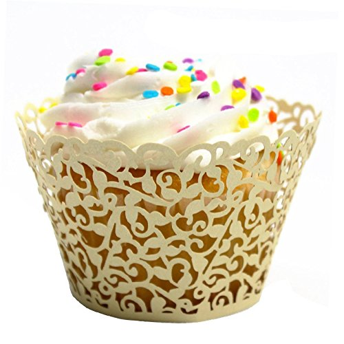 Krismile/® Hot selling Pack of 120ps white color Little Vine Lace Laser Cut Cupcake Wrapper Liner Baking Cup Wedding Birthday Tea Party Home Decoration Tools