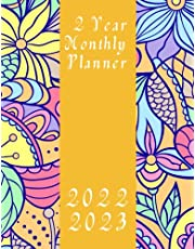 """2022-2023 2 Year Monthly Planner: Flowers Pattern 8-1/2 x 11"""" 