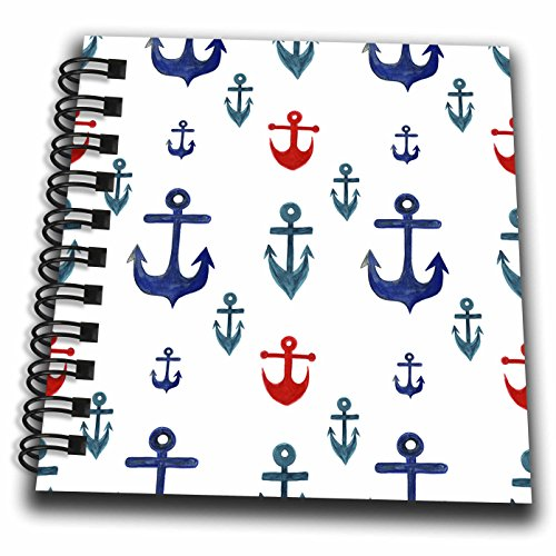 3dRose Anne Marie Baugh - Patterns - Red and Blue Nautical Sailing Anchors Pattern - Mini Notepad 4 x 4 inch (db_263487_3)