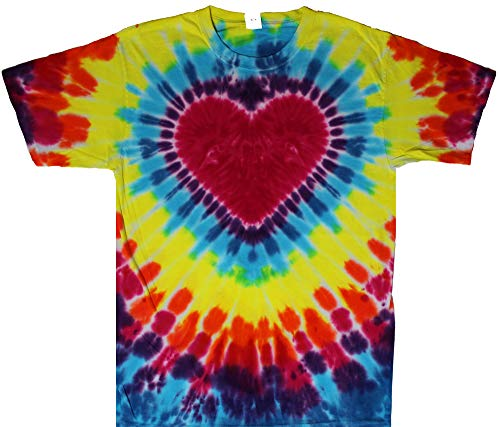 Tie Dyed Shop Rainbow Tie Dye Heart Shirt-Short Sleeve-Large ()