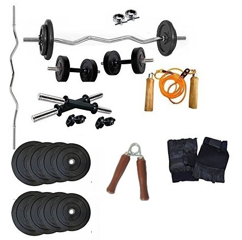 Aurion Home Gym Weight Lifting Pack 16 Kg with 3 Rods + Glove-Rope-Hand Grip x 1