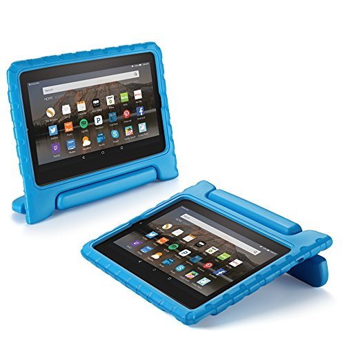 Kids Shock Proof Soft Light Weight Childproof Impact Drop Resistant Protective Stand Cover Case with Handle for Amazon Fire HD 7 Inch Tablet 5th Gen 2015 Release (Blue) ()