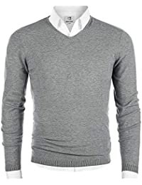 Men's V-Neck Long Sleeve Pullover Casual Sweater