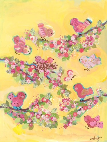 Oopsy Daisy Yellow Blossom Birdies Stretched Canvas Wall Art by Winborg Sisters, 18 by 24-Inch