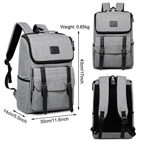 Unisex Professional Slim Business Backpacks Laptop, Feskin Fashion Lightweight Casual Tablet Backpack Daypacks Shoulder Bags for School Students Laptop Macbook Computer - Grey by Feskin (Image #1)