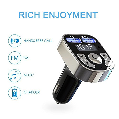 Niukamo Bluetooth FM Transmitter for Car Blue Tooth Receiver Charger MP3 Player In-Car Quickly Charging Wireless Stereo Radio Adapter Kit Hands Free Calling Dual USB Ports Charge 5V (FM TRANSMITTER) by Niukamo (Image #1)