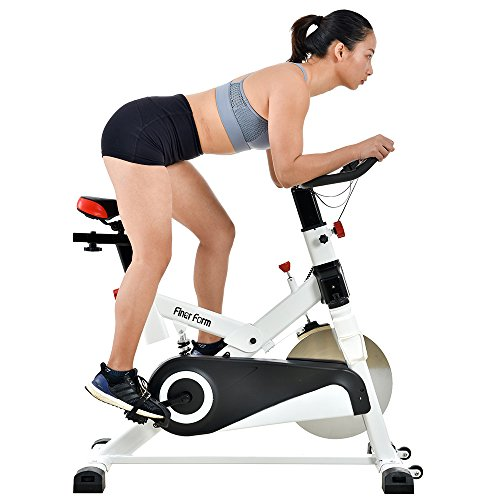 Finer Form Gym-Quality Indoor Bike with LCD Monitor and Shock Absorption, White, 30LB Flywheel