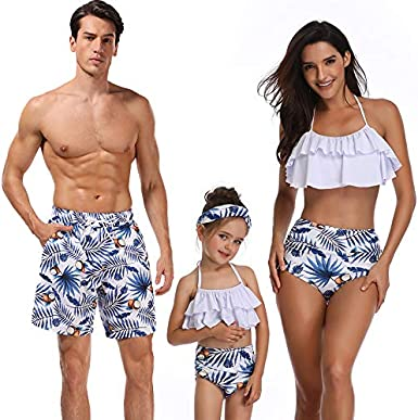 Family Matching Bathing Suit Mom/&Girl 1-Piece Sleeveless Backless Swimsuit Dad/&Boy Swim Trunks with Drawstring