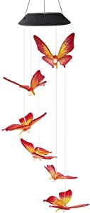 Butterfly Wind Chimes, Color Changing Solar Wind Chimes Lights Wind Bell Mobile Night Hanging lamp Patio Garden Lighting Home Decor with Spinning Hook Gift for Mon Christmas (Red & Amber)